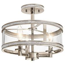 kichler lighting com kichler lighting angelica 13 in w polished nickel clear glass