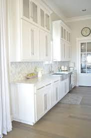 kitchen tour stainless farmhouse sink herringbone backsplash