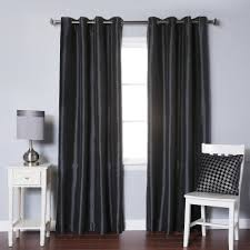 Grommet Top Blackout Curtains Best Home Fashion Black Dupioni Faux Silk Grommet Top Blackout