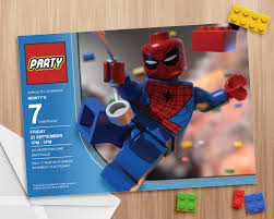 Spiderman Free Printable Invitations Cards Lego Spiderman Invitation Editable And Printable Print As