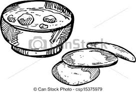 vectors illustration of soup with garlic bread csp15375979