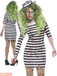 Halloween Costume Prisoner Ladies Zombie Convict Costume Prisoner Jailbird Halloween Fancy