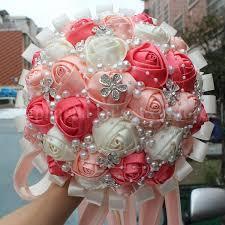 satin roses pink ivory chagne satin festival bouquet custom wedding