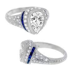 art deco pear shaped sapphire diamond ring sapphire art deco