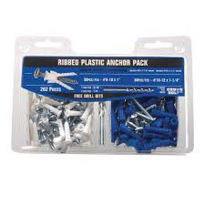 Anchor Bathroom Accessories by 8 10 White And 10 12 Blue Ribbed Plastic Anchor Pack With Screws