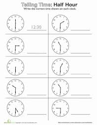 telling time half hour free worksheets time worksheets grade 2 free math worksheets