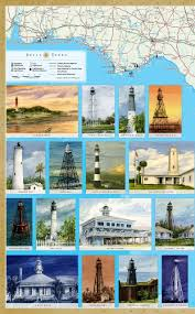 Florida Lighthouses Map by Florida Lighthouses Illustrated Map U0026 Guide Laminated Poster