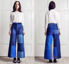 rodebjer womens wide leg patchwork pant mina denim jeans fashion