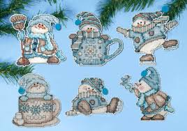 design works cocoa snowmen ornament set 6 crossstitchworld