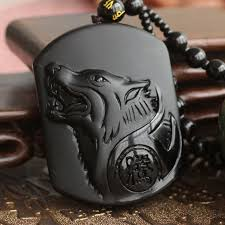 free necklace images Natural black obsidian carving wolf head amulet pendant free jpg