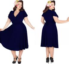 vintage 1950 u0027s style plus size party dresses rockabilly navy blue
