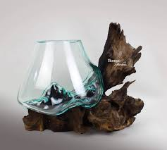 molten glass on wood base terrarium vase with wood base fish bowl