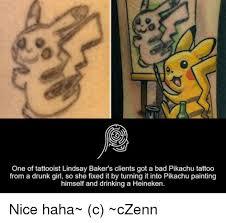 Bad Tattoo Meme - 25 best memes about pikachu tattoos pikachu tattoos memes