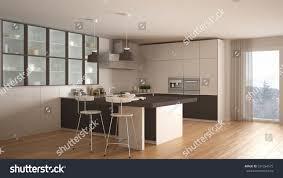 modern interior design kitchen classic minimal white brown kitchen parquet stock illustration