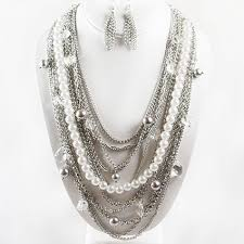 multi chain necklace images White pearl multi chain necklace set jpg