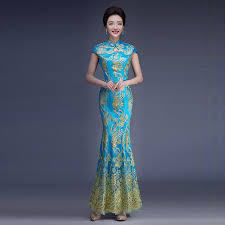 online shop 2016 fashion lace bride wedding qipao green cheongsam