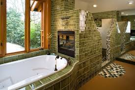 Craftsman Style Bathroom Gorgeous Craftsman Style Bathroom With Green Tiles And Double