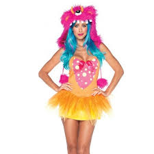 party america halloween costumes shaggy shelly fun monster costume for women with fur hood
