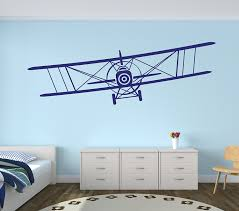 amazon com large airplane wall decal biplane wall art boys amazon com large airplane wall decal biplane wall art boys kids room decor nursery wall decals 50wx17h baby