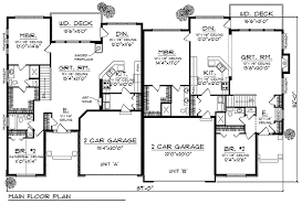 duplex house plan for the small narrow lot 67718mg floor plan main