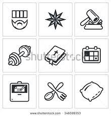 vector set prison icons prisoner tattoo stock vector 346599353