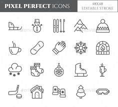 theme line winter winter vacation theme pixel perfect line icons by yuliiapixel