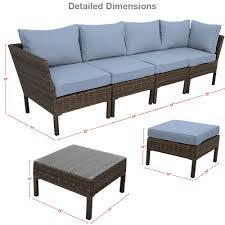Wicker Rattan Patio Furniture by Sunnydaze Belgrano Wicker Rattan 6 Piece Sofa Sectional Patio
