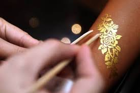 silver and gold metallic temporary jewelry tattoos instyle