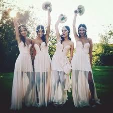 wedding bridesmaid dresses 2015 strapless shirred chffion sleeveless split sheer