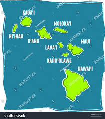 Maui Hawaii Map Retro Tropical Map Hawaiian Islands Chain Stock Vector 78636400