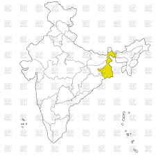 eastern state west bengal on the map of india vector clipart image