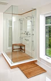 Teak Outdoor Shower Enclosure by Teak Shower Floor Decorating For Inspire You Cool Brown Color