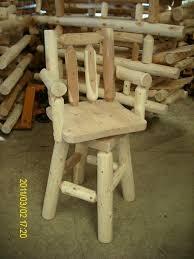 Bar Stool With Arms White Cedar Log Bar Stool