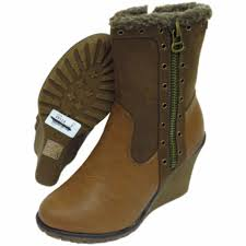 ladies brown biker boots ladies brown wedge zip up ankle mid calf warm comfy biker boots