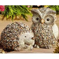 pebble garden decorative hedgehog and owl ornaments buy both save