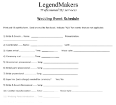Wedding Planning Schedule Wedding Planner Legend Makers Entertainment For All Occasions