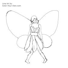 flower butterfly fairy coloring page