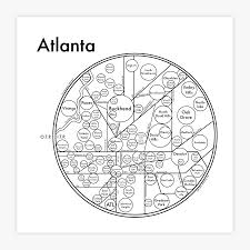 Map Of Atlanta Neighborhoods by Atlanta Map 8 X 8 Letterpress Beautiful