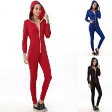 womens hooded sleeves jumpsuit zipper trousers