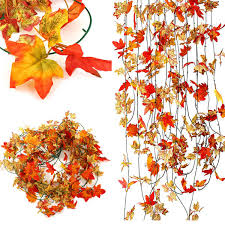 10pcs artificial ivy maple plastic fake leaves garland home garden