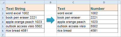 separate text numbers cell columns