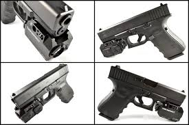 glock 19 light and laser at3 tactical green laser light combo with led strobe flashlight ll