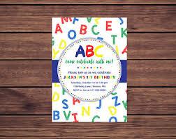 alphabet birthday etsy