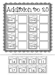 and paste addition to 20 adding up to twenty worksheets math