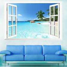 large pvc removable beach sea 3d window view scenery wall stickers