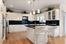Kitchen White Cabinets With Black Countertops Wood Floor Eiforces - Kitchen white cabinets