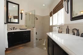 bathroom modern bathroom design using white tub plus shower stall