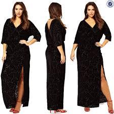 plus size long sleeve v neck high maxi party dress black
