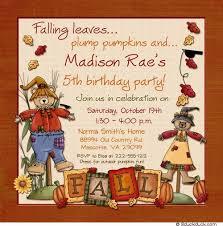 fall scarecrow birthday invitation pumpkin beary cute