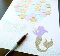 baby shower sign in mermaid baby shower guest sign in aqua lavender and